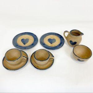 Children's Tea Set With Plates Cream Sugar Pottery